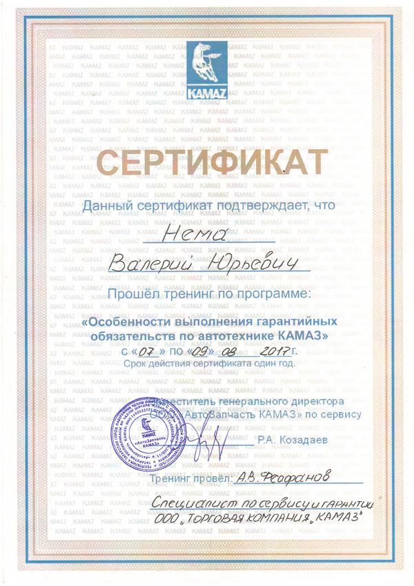 Нема Валерий Юрьевич Сертификат